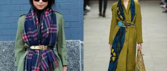 Зеленое пальто с длинным шарфом и поясом