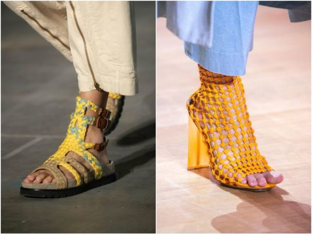 ботинки из плетёной кожи