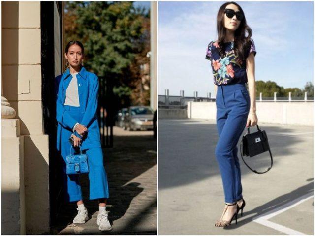 дымчато-синие женские брюки