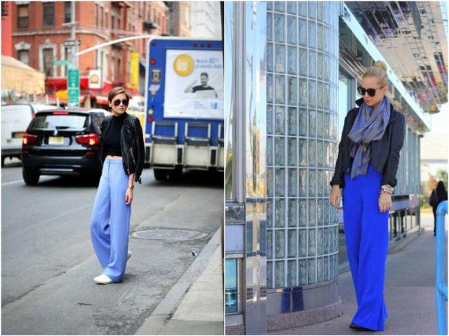 женственные брюки синие