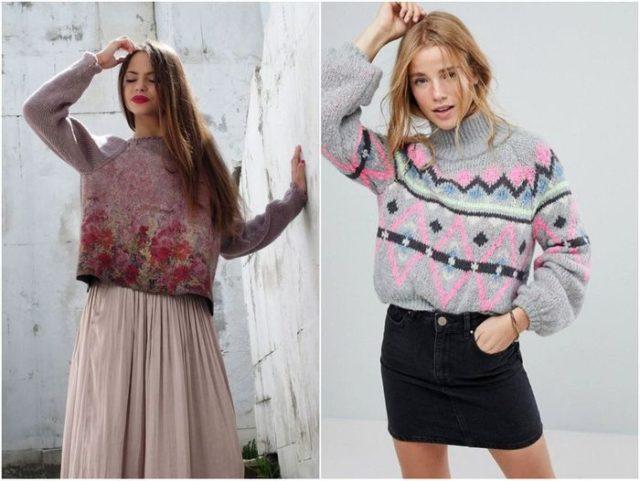 свитера с разнообразными узорами