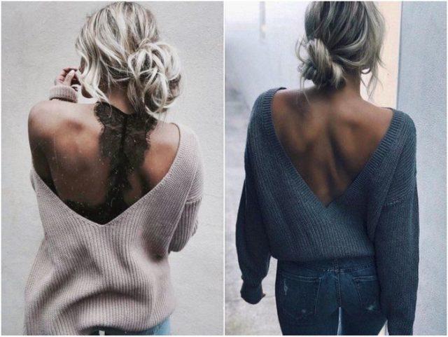 свитера с открытой спиной