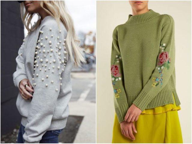 свитера с декорированными рукавами