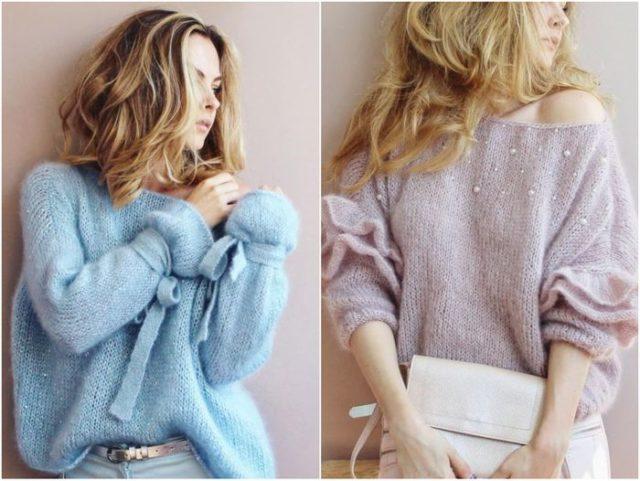 свитера с бусами