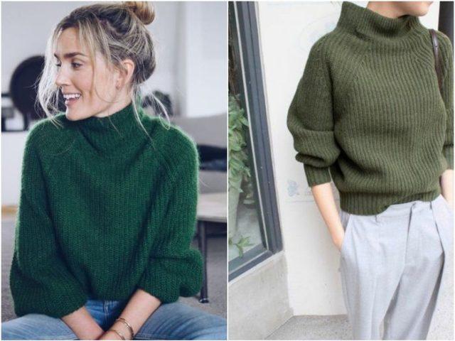 свитера зеленые