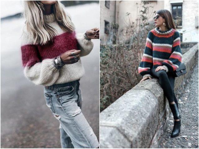 свитера в полоску