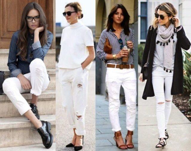 Белые женские джинсы total white