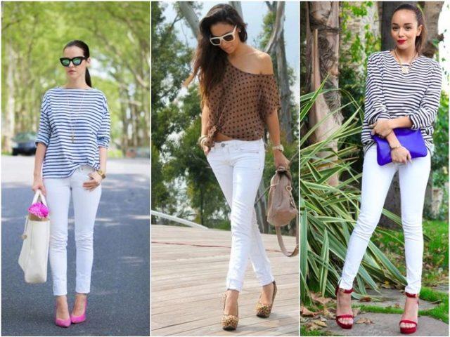 Высокая обувь к белым джинсам