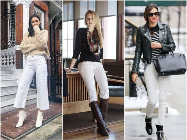 Разная обувь к белым джинсам