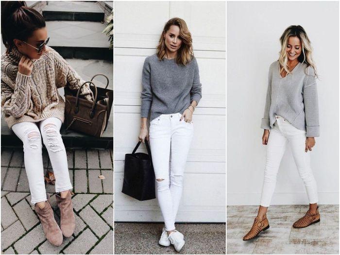 Объемные свитера с белыми джинсами