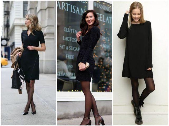 Разная обувь под черное платье