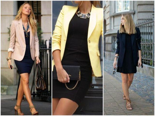 Цветные пиджаки в сочетании с платьем