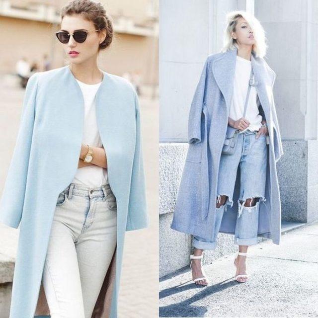 Модное пальто голубые расцветки