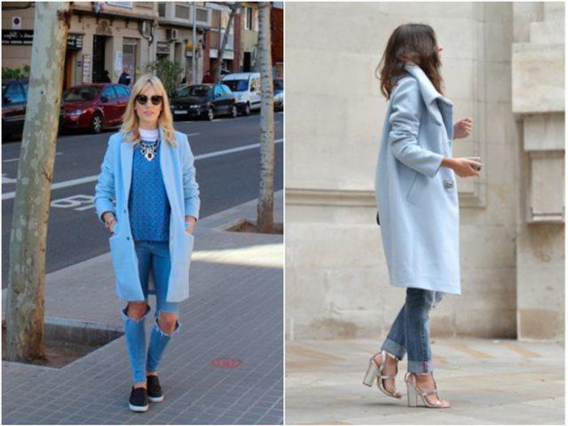 Женское пальто в голубом тоне