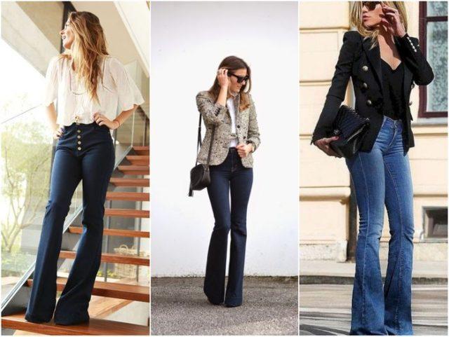 Чёрные джинсы клёш