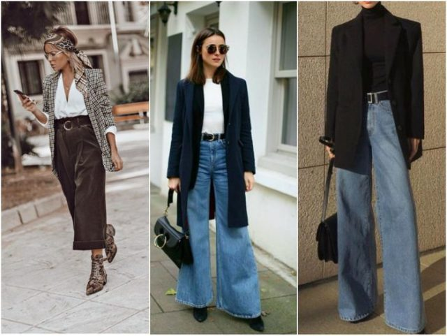 джинсы клёш с ремнем