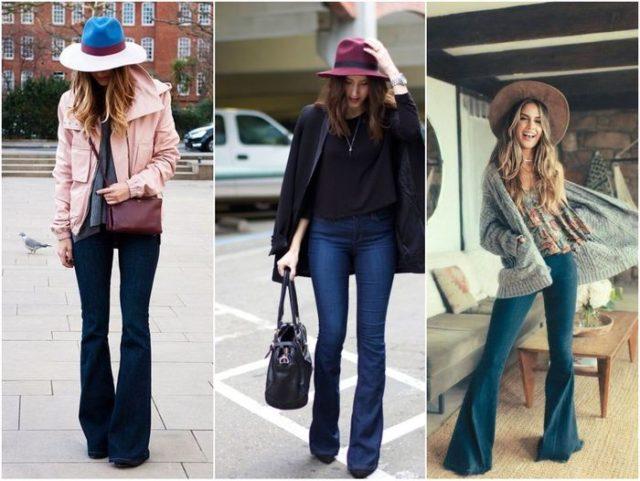 джинсы клёш и шляпа