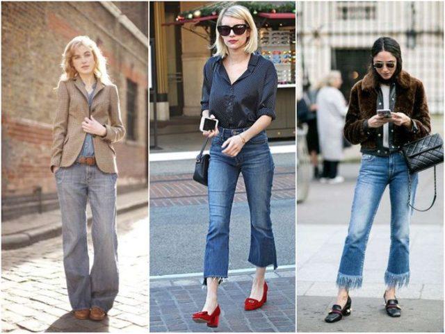 Укороченные модели джинсов клёш