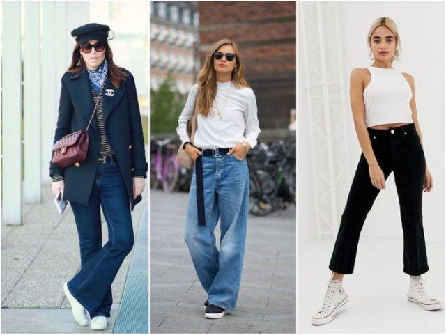 Кеды к джинсам клеш