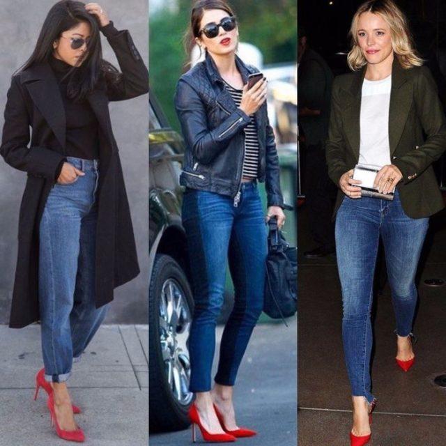 красная обувь с джинсами