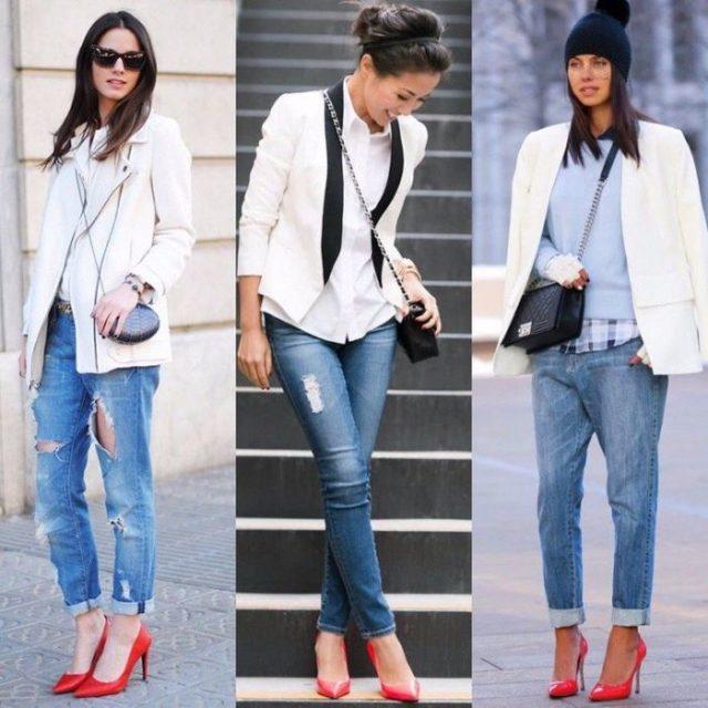 красная обувь с рваными джинсами