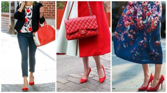 красная обувь с платьем