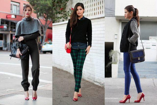 красная обувь с темными брюками