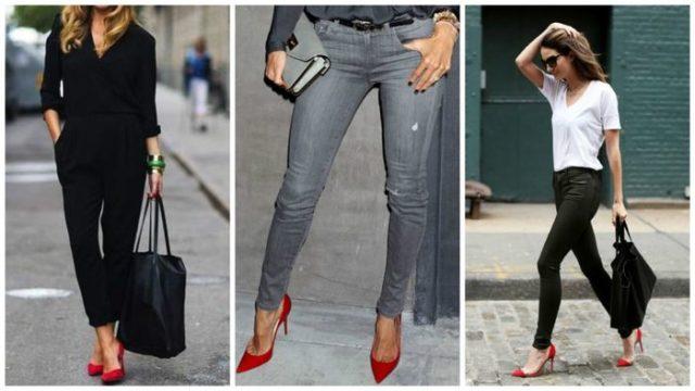 Красная обувь с брюками
