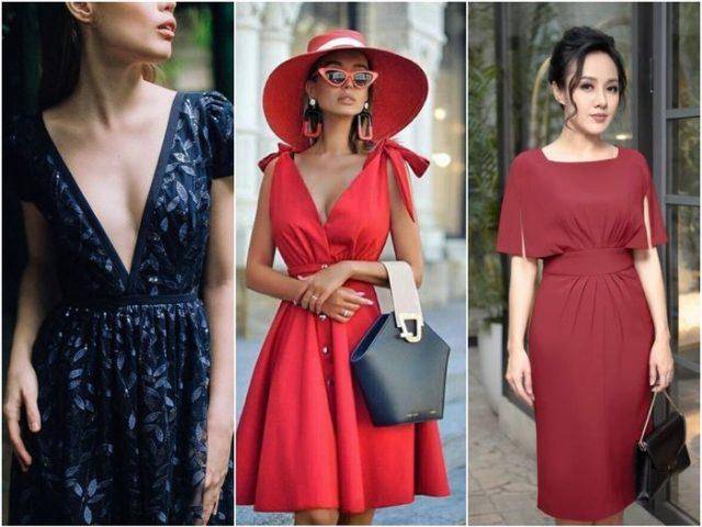 Красное и синее платье