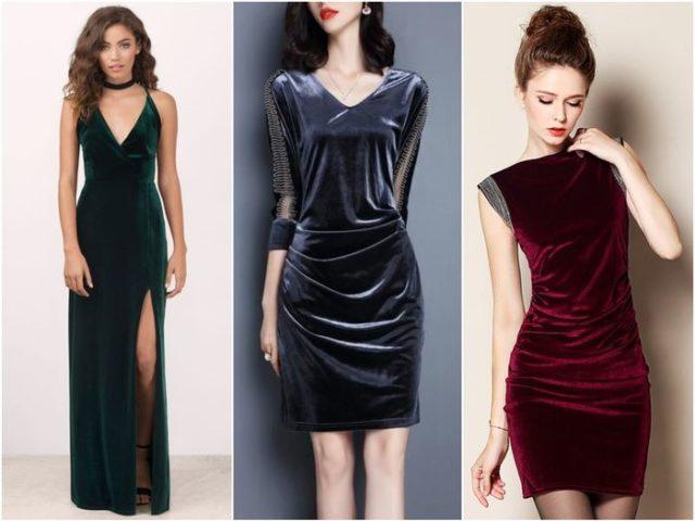Модные женские платья из бархата