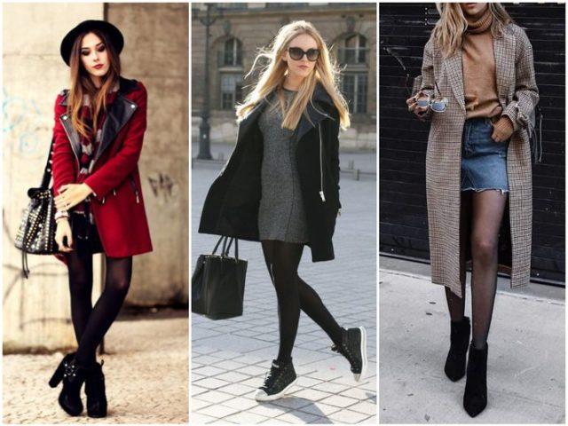 женственные ботильоны с пальто