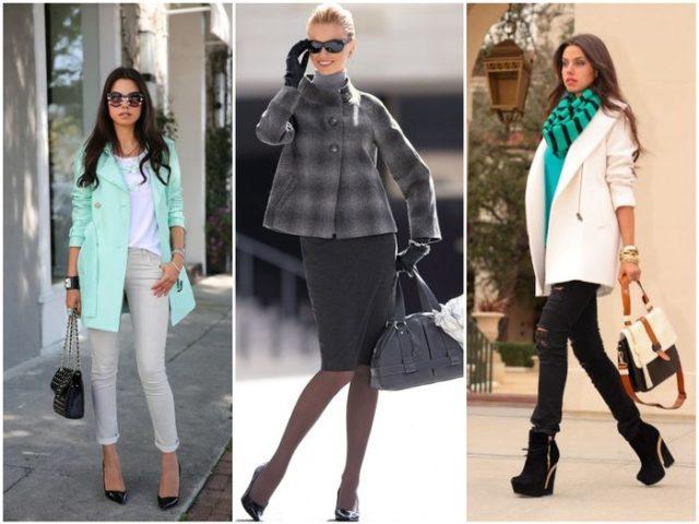 Высокая обувь в сочетании с коротким пальто