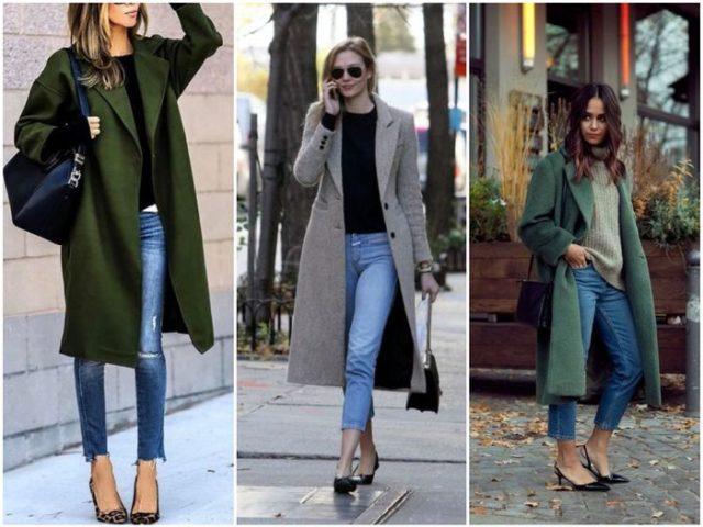 Демисезонные пальто с джинсами