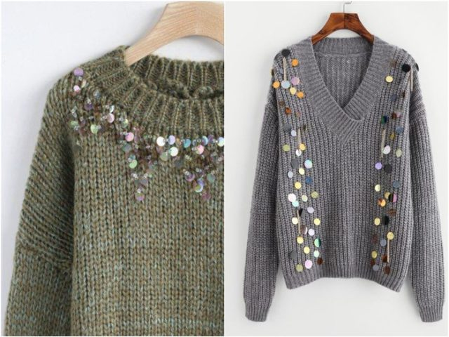 Вязка трикотажного пуловера