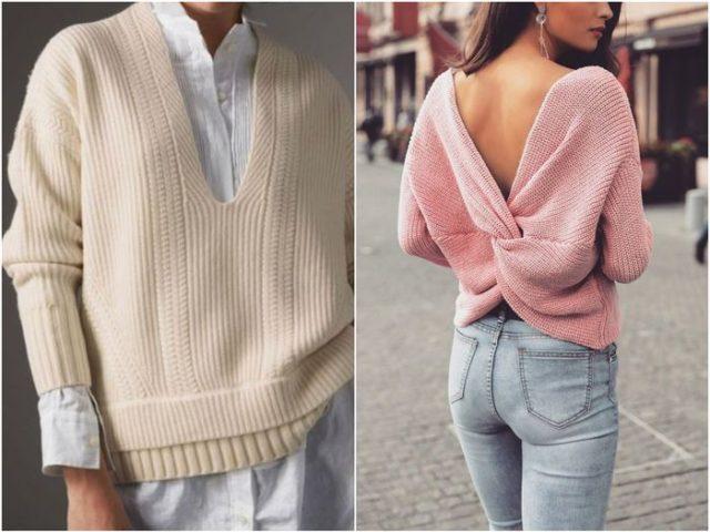 Пуловеры с углубленным вырезом