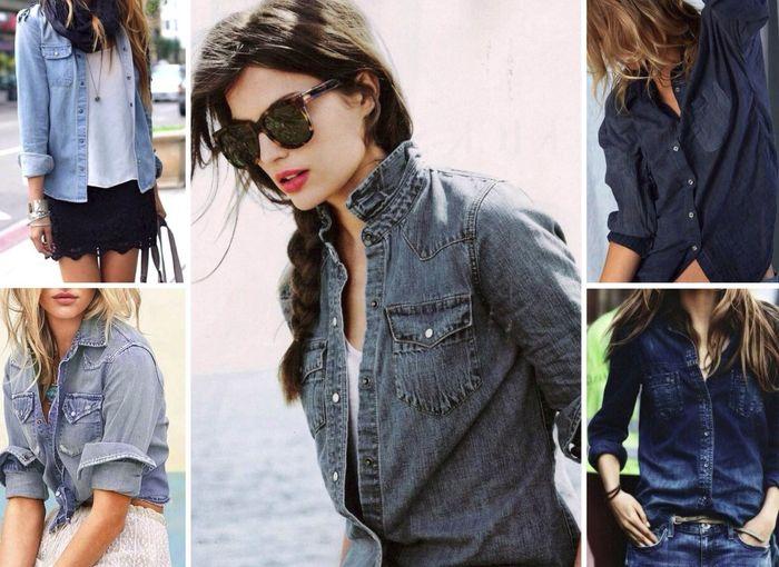 Женские рубашки из джинсы