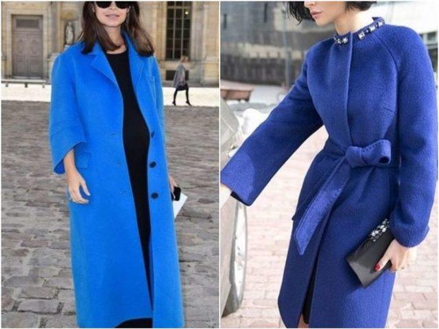 пальто синее и сиреневое