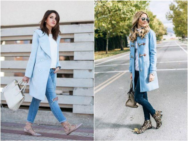 Женское пальто голубое