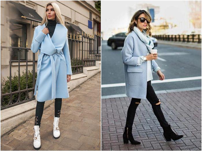 Пальто голубого цвета