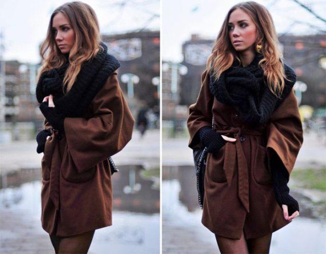 Черный шарф с пальто