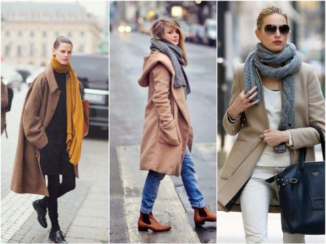 Разные шарфы с пальто