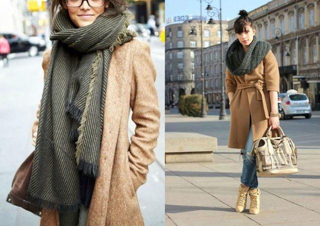 Длинный шарф с пальто