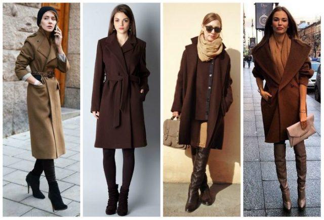 Темно коричневое пальто