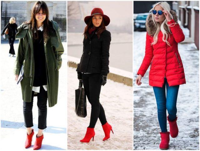 Красные туфли в зимний сезон