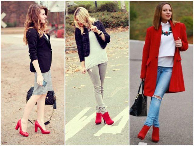 Красная обувь осенью