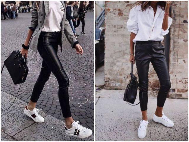 Сникерсы с кожаными штанами