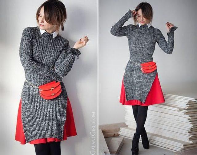 обтягивающее трикотажное платье-свитер