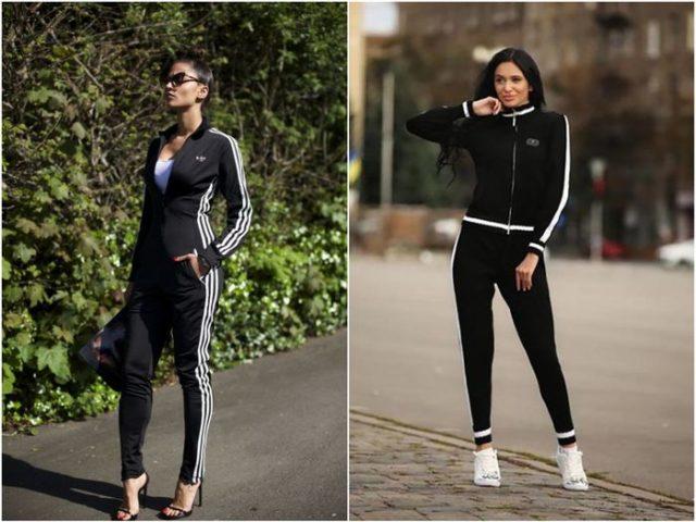 черная спортивная одежда Адидас