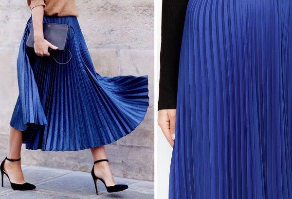 Гофрированная юбка синего цвета