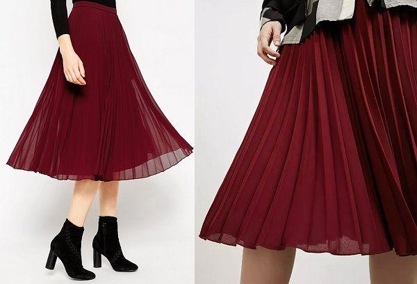 Гофрированная юбка бордового цвета